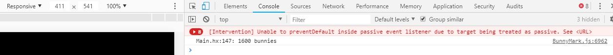 Chrome console error: Unable to preventDefault inside