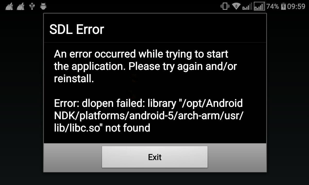 Android: SDL Error, dlopen failed   libc so not found - Help